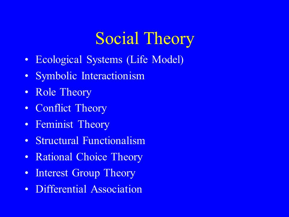 Social Theory Ecological Systems (Life Model) Symbolic Interactionism Role Theory Conflict Theory Feminist Theory Structural Functionalism Rational Choice Theory Interest Group Theory Differential Association