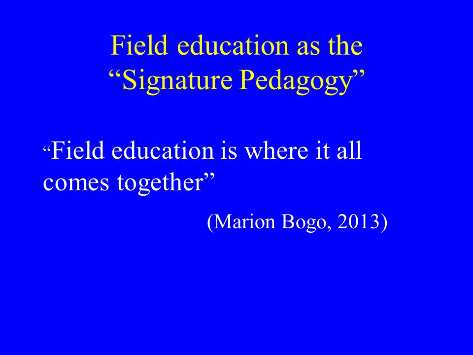 Field education as the Signature Pedagogy Field education is where it all comes together (Marion Bogo, 2013)