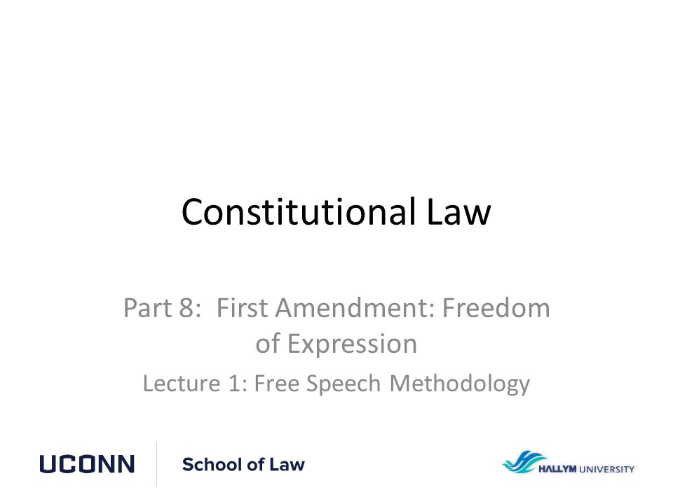 Constitutional Law – Professor David Thaw Part 8 Lecture 1Slide 2 Freedom of Expression The First Amendment states that Congress shall make no law...