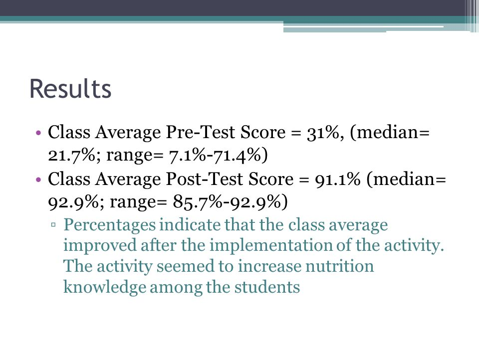 Results Class Average Pre-Test Score = 31%, (median= 21.7%; range= 7.1%-71.4%) Class Average Post-Test Score = 91.1% (median= 92.9%; range= 85.7%-92.9%) ▫Percentages indicate that the class average improved after the implementation of the activity.