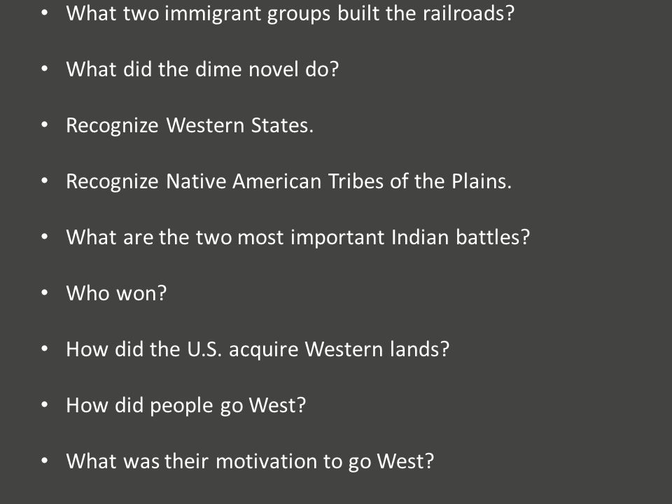 What two immigrant groups built the railroads. What did the dime novel do.