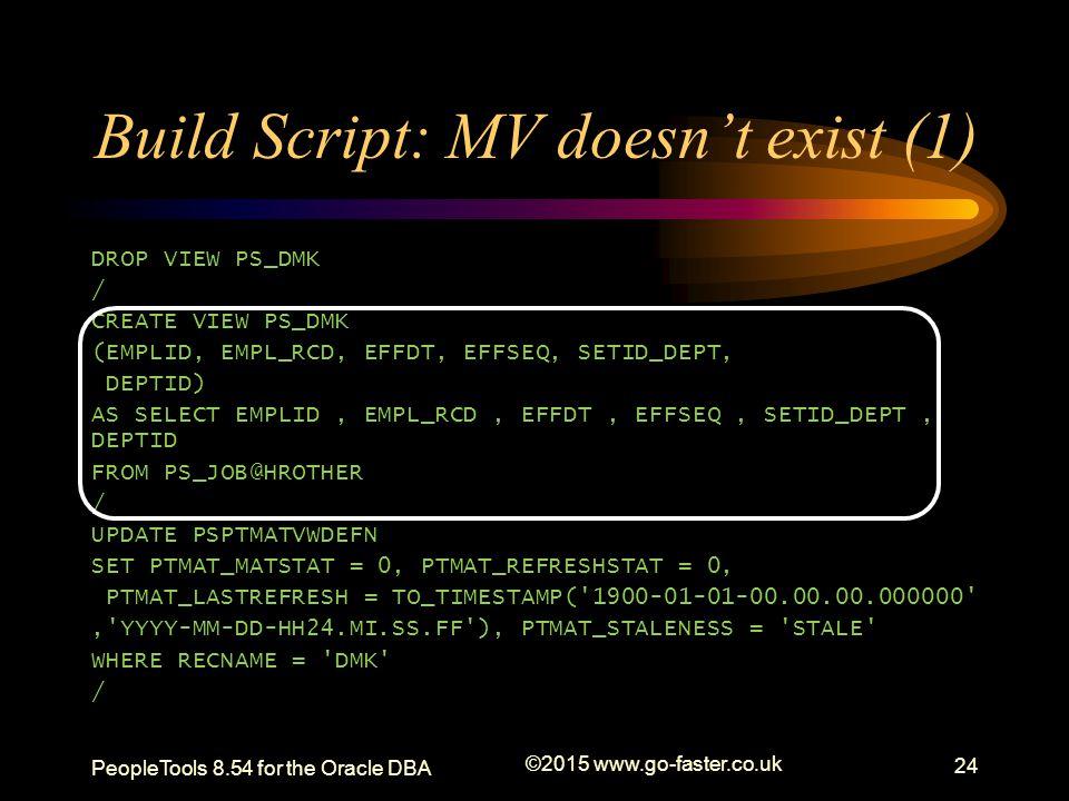 Build Script: MV doesn't exist (1) DROP VIEW PS_DMK / CREATE VIEW PS_DMK (EMPLID, EMPL_RCD, EFFDT, EFFSEQ, SETID_DEPT, DEPTID) AS SELECT EMPLID, EMPL_
