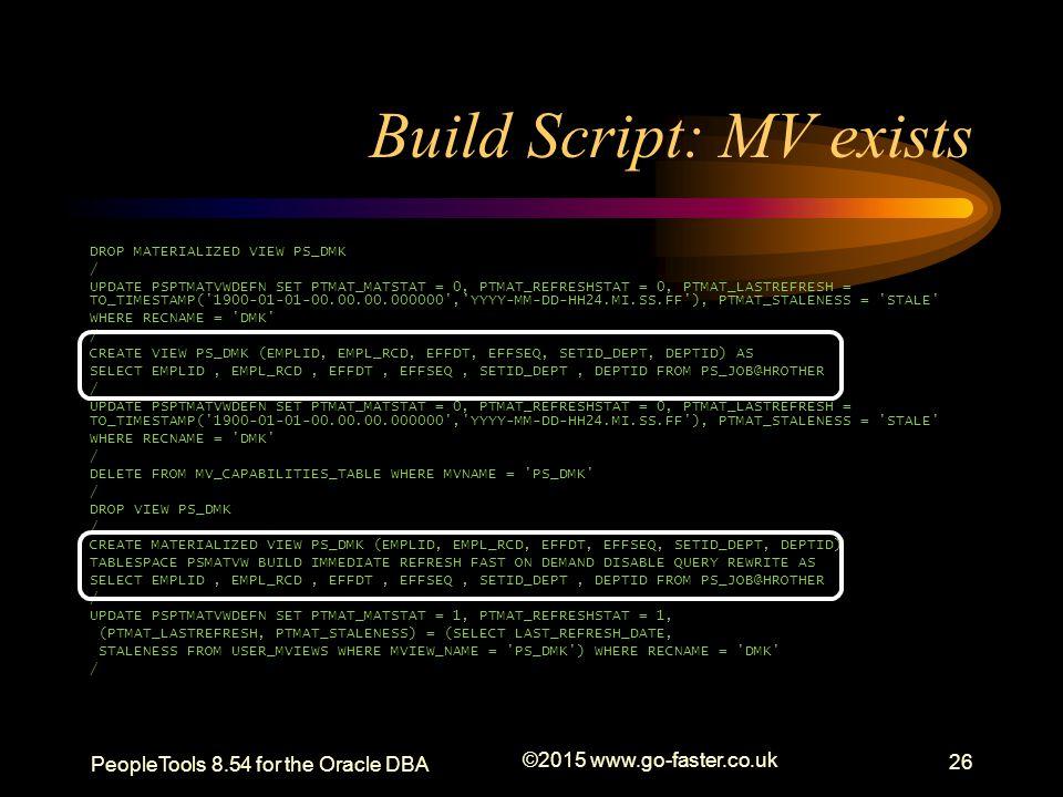 Build Script: MV exists DROP MATERIALIZED VIEW PS_DMK / UPDATE PSPTMATVWDEFN SET PTMAT_MATSTAT = 0, PTMAT_REFRESHSTAT = 0, PTMAT_LASTREFRESH = TO_TIME