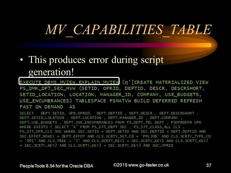 MV_CAPABILITIES_TABLE This produces error during script generation! EXECUTE DBMS_MVIEW.EXPLAIN_MVIEW (q'[CREATE MATERIALIZED VIEW PS_DMK_DPT_SEC_MVW (