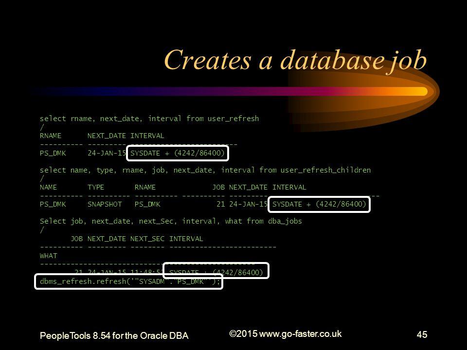 Creates a database job select rname, next_date, interval from user_refresh / RNAME NEXT_DATE INTERVAL ---------- --------- ------------------------- P