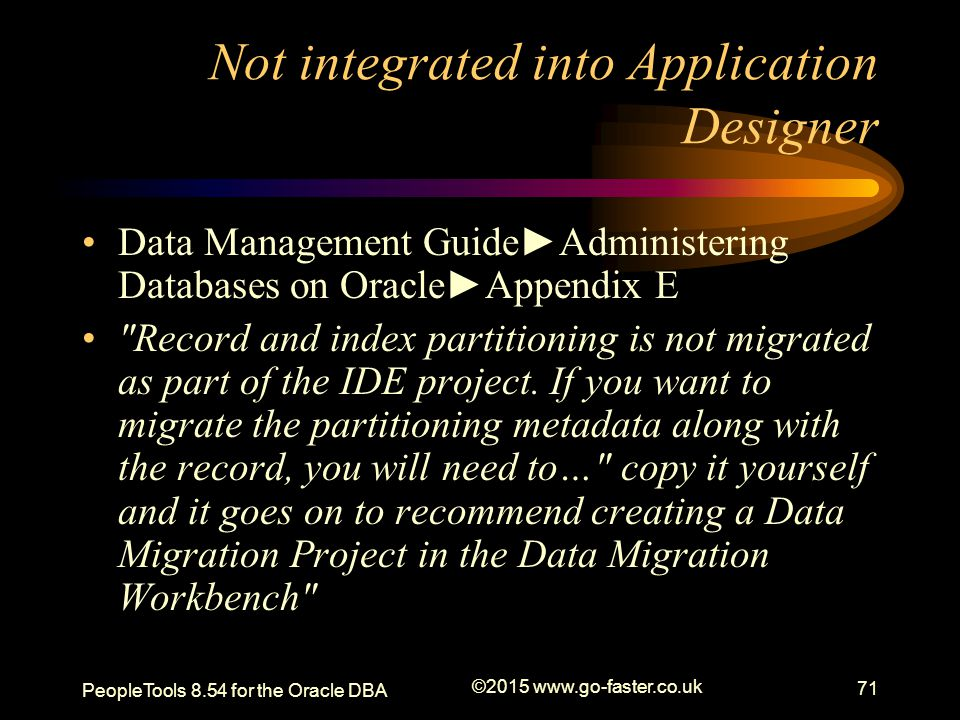Not integrated into Application Designer Data Management Guide►Administering Databases on Oracle►Appendix E