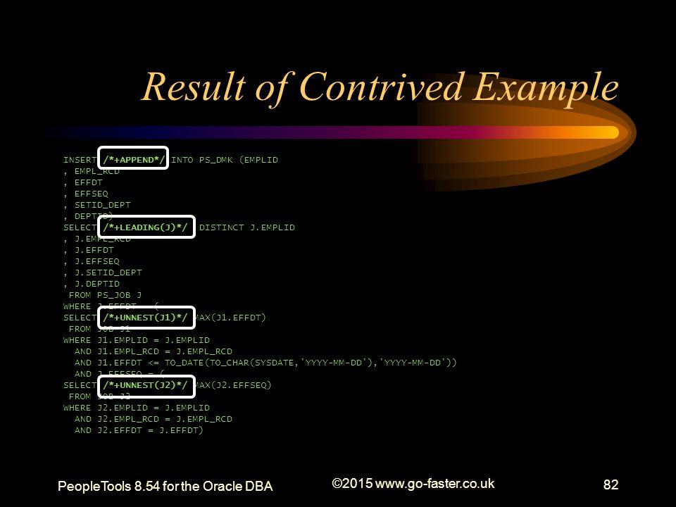 Result of Contrived Example INSERT /*+APPEND*/ INTO PS_DMK (EMPLID, EMPL_RCD, EFFDT, EFFSEQ, SETID_DEPT, DEPTID) SELECT /*+LEADING(J)*/ DISTINCT J.EMP
