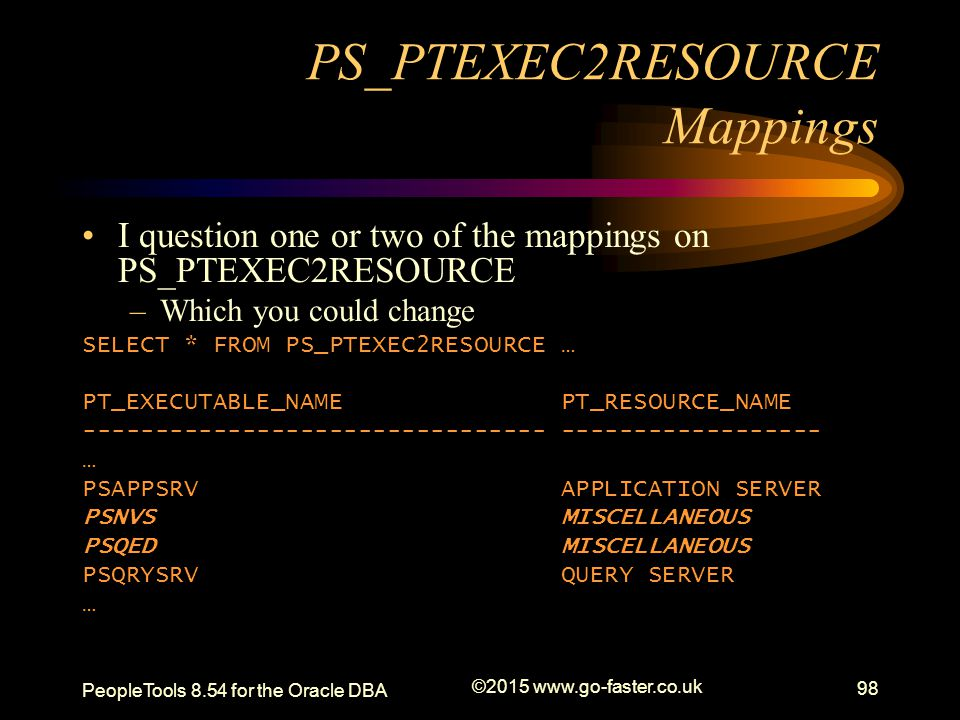 PS_PTEXEC2RESOURCE Mappings I question one or two of the mappings on PS_PTEXEC2RESOURCE –Which you could change SELECT * FROM PS_PTEXEC2RESOURCE … PT_