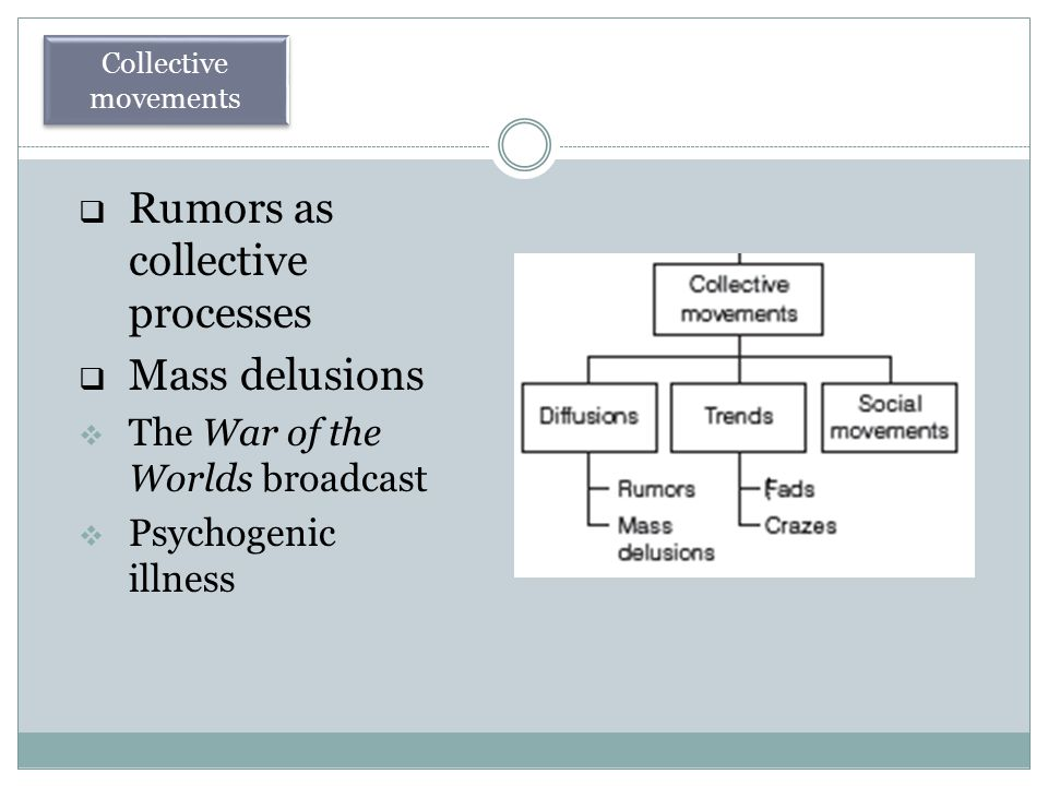  Rumors as collective processes  Mass delusions  The War of the Worlds broadcast  Psychogenic illness Collective movements