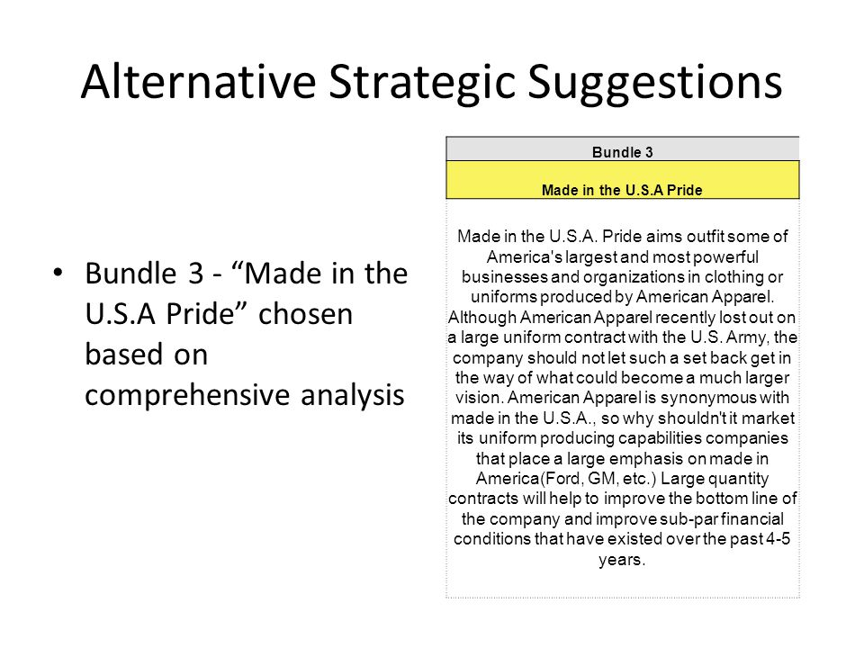 "Alternative Strategic Suggestions Bundle 3 - ""Made in the U.S.A Pride"" chosen based on comprehensive analysis Bundle 3 Made in the U.S.A Pride Made in"