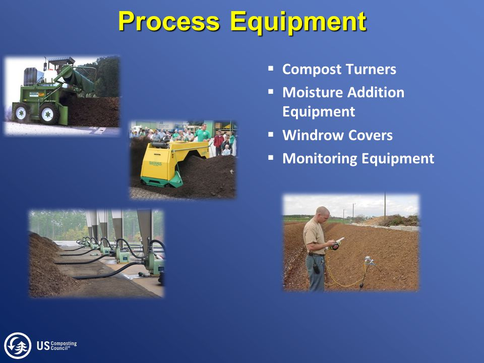 Process Equipment  Compost Turners  Moisture Addition Equipment  Windrow Covers  Monitoring Equipment