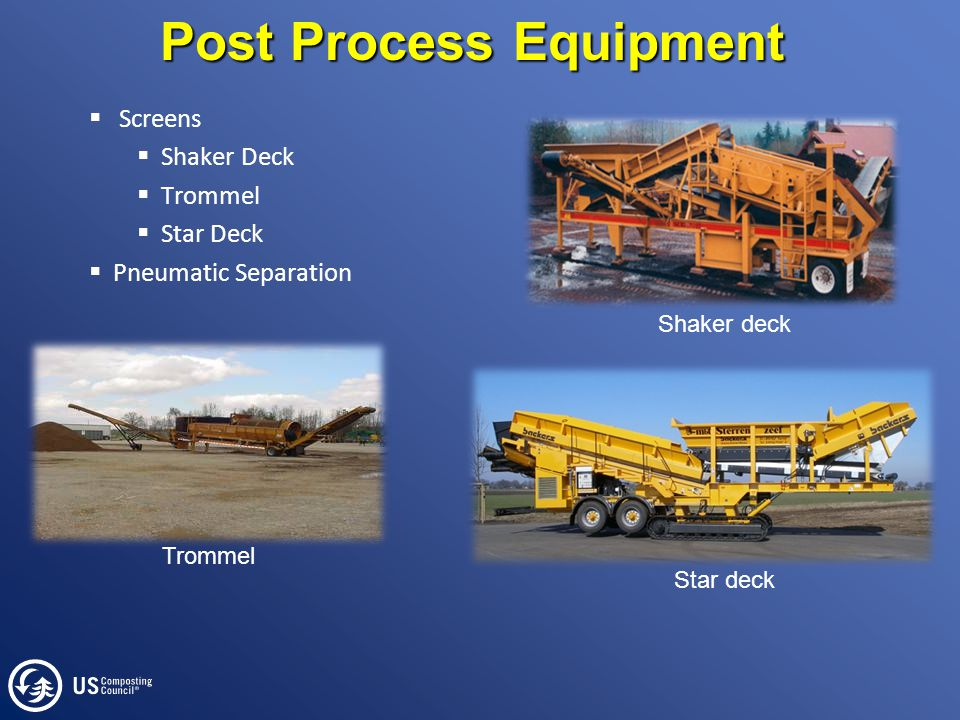 Post Process Equipment  Screens  Shaker Deck  Trommel  Star Deck  Pneumatic Separation Trommel Shaker deck Star deck