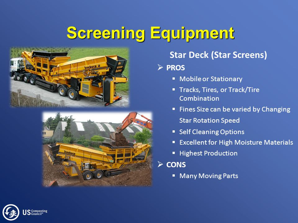 Screening Equipment Star Deck (Star Screens)  PROS  Mobile or Stationary  Tracks, Tires, or Track/Tire Combination  Fines Size can be varied by Changing Star Rotation Speed  Self Cleaning Options  Excellent for High Moisture Materials  Highest Production  CONS  Many Moving Parts