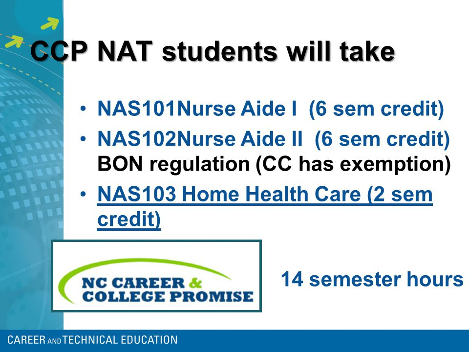 CCP NAT students will take NAS101Nurse Aide I (6 sem credit) NAS102Nurse Aide II (6 sem credit) BON regulation (CC has exemption) NAS103 Home Health Care (2 sem credit) 14 semester hours
