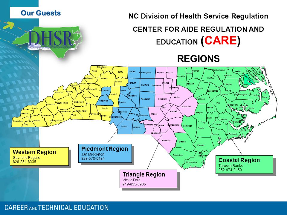 NC Division of Health Service Regulation CENTER FOR AIDE REGULATION AND EDUCATION (CARE) REGIONS