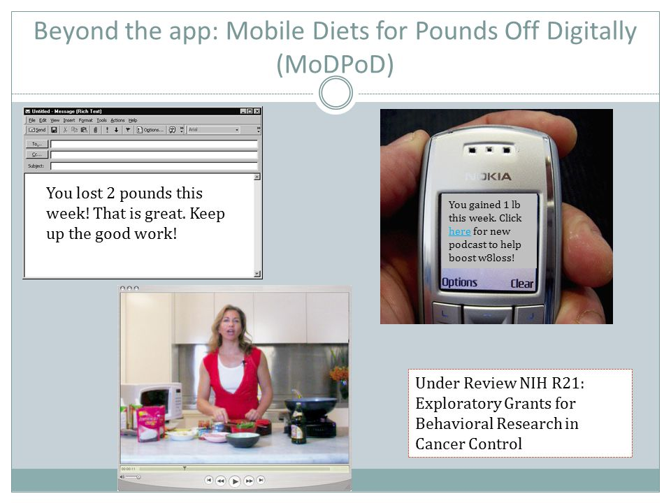 Beyond the app: Mobile Diets for Pounds Off Digitally (MoDPoD) You lost 2 pounds this week! That is great. Keep up the good work! You gained 1 lb this