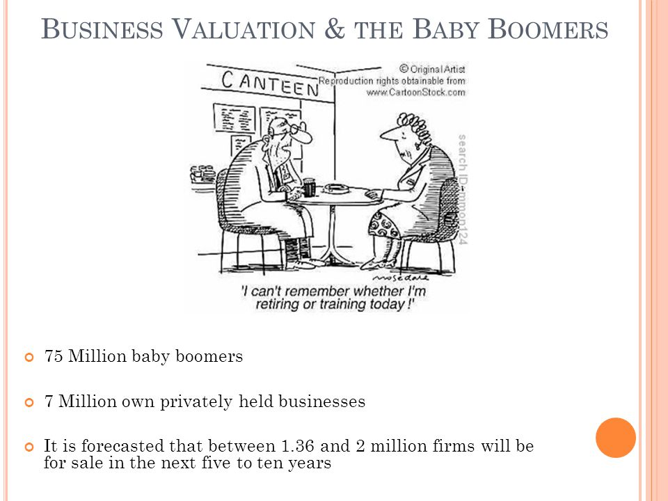 B USINESS V ALUATION & THE B ABY B OOMERS 75 Million baby boomers 7 Million own privately held businesses It is forecasted that between 1.36 and 2 million firms will be for sale in the next five to ten years