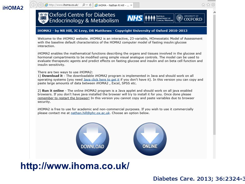 iHOMA2 Diabetes Care. 2013; 36:2324-30. http://www.ihoma.co.uk/