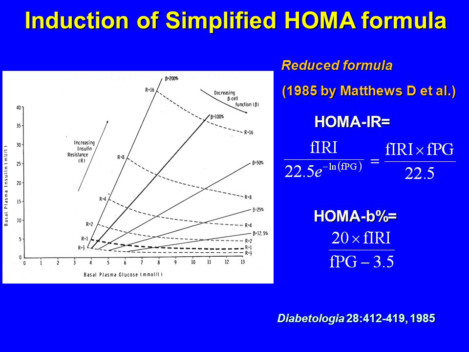 Induction of Simplified HOMA formula Reduced formula (1985 by Matthews D et al.) (1985 by Matthews D et al.) Diabetologia 28:412-419, 1985 HOMA-IR= HOMA-b%=