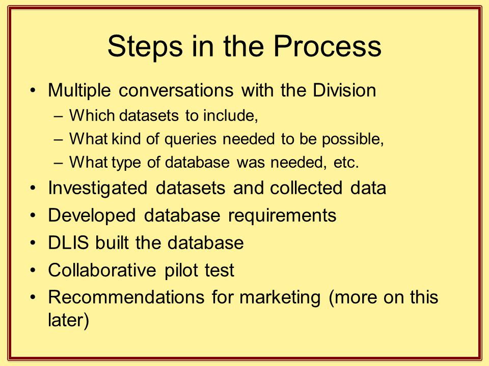 Steps in the Process Multiple conversations with the Division –Which datasets to include, –What kind of queries needed to be possible, –What type of d