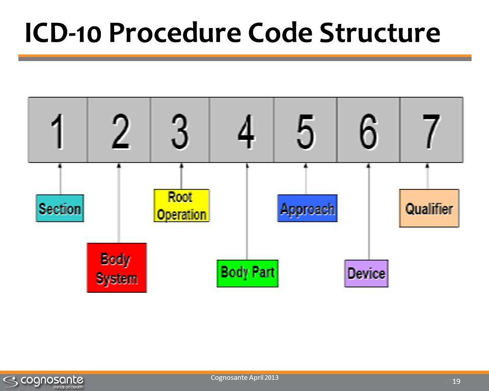Cognosante April 2013 19 ICD-10 Procedure Code Structure