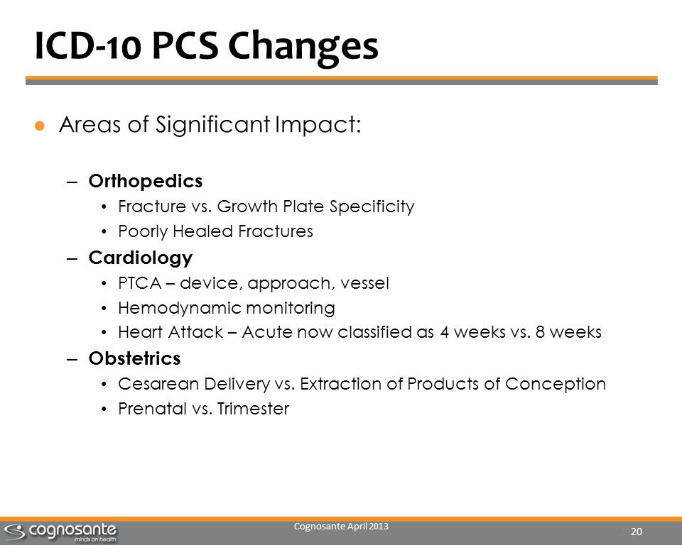 Cognosante April 2013 20 ICD-10 PCS Changes ●Areas of Significant Impact: – Orthopedics Fracture vs.