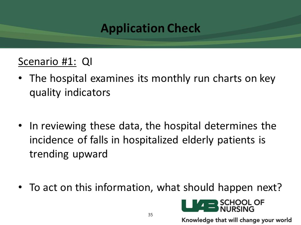 Application Check Scenario #1: QI The hospital examines its monthly run charts on key quality indicators In reviewing these data, the hospital determi