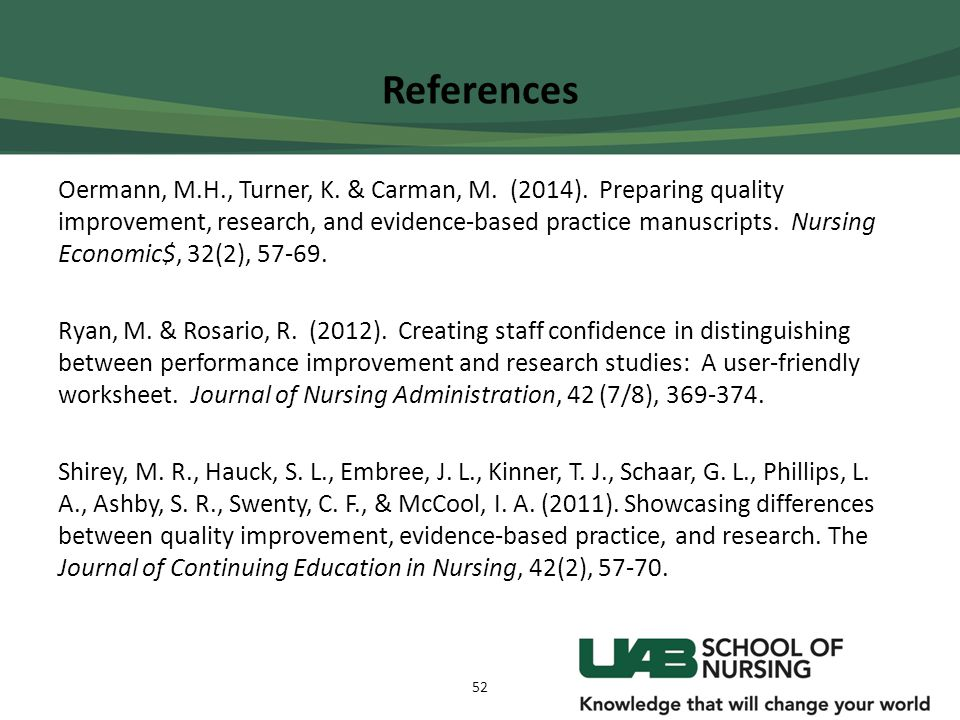 References Oermann, M.H., Turner, K. & Carman, M. (2014). Preparing quality improvement, research, and evidence-based practice manuscripts. Nursing Ec