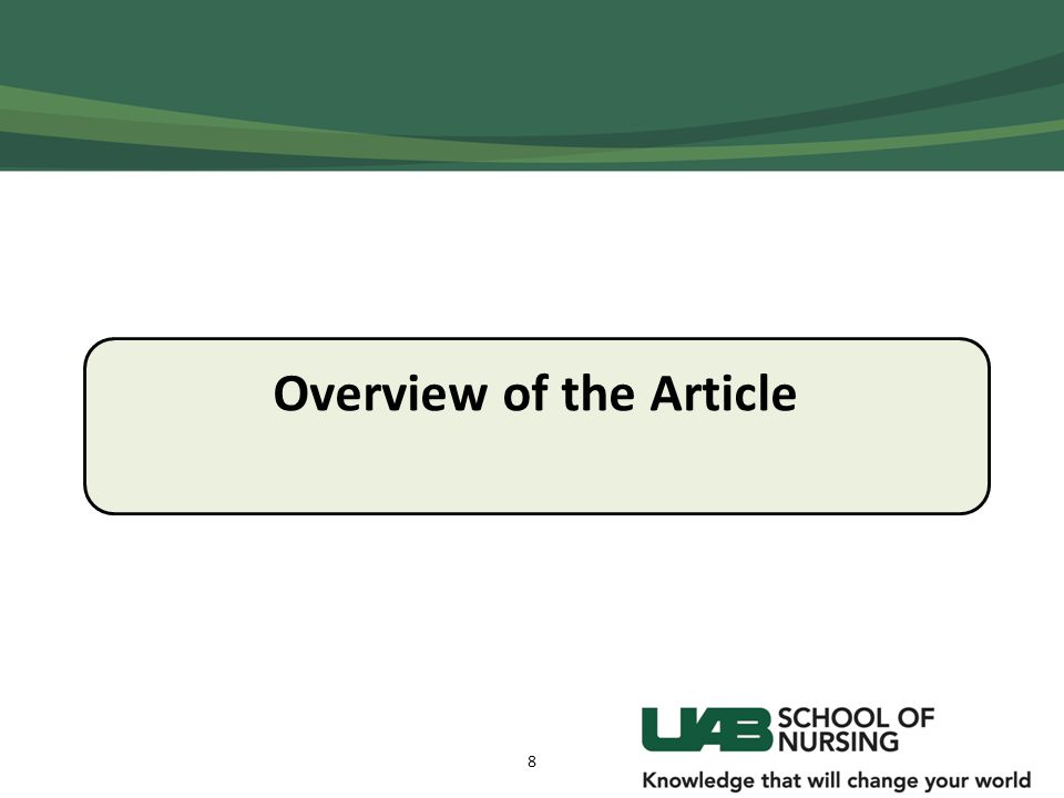 Overview of the Article 8