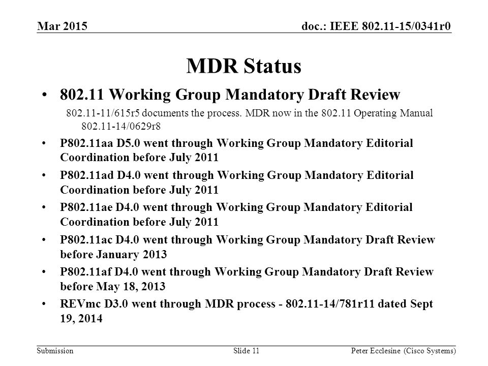 Submission doc.: IEEE 802.11-15/0341r0 MDR Status 802.11 Working Group Mandatory Draft Review 802.11-11/615r5 documents the process.