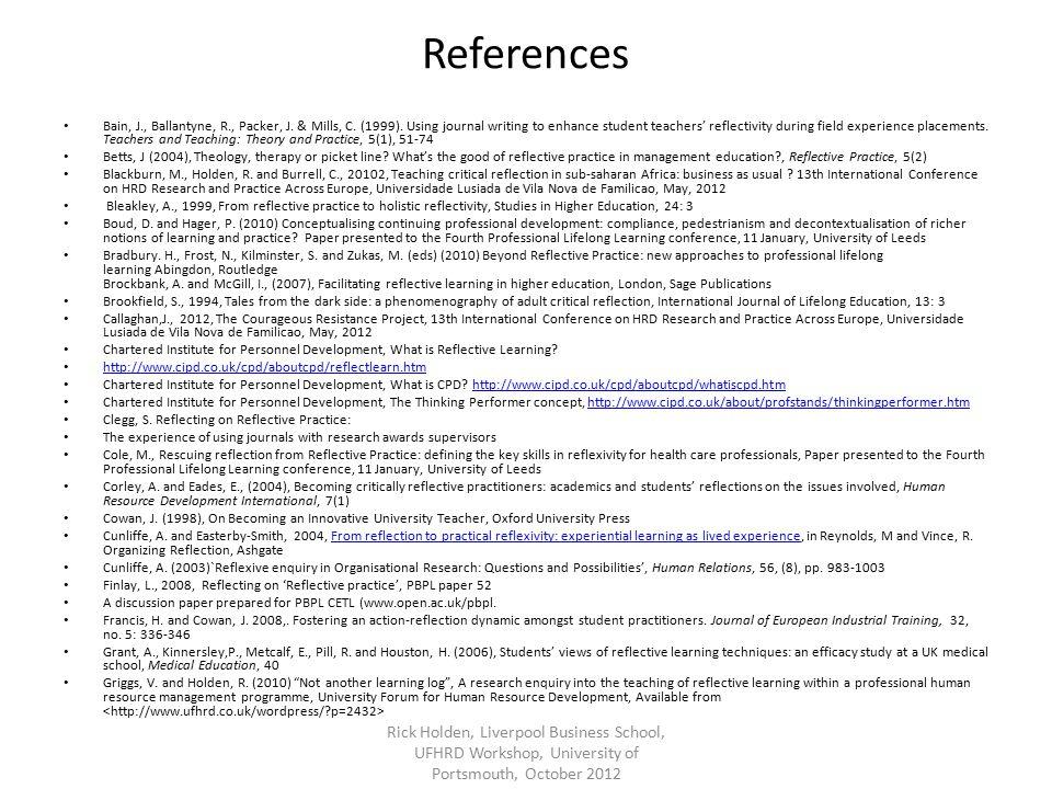 References Bain, J., Ballantyne, R., Packer, J. & Mills, C.