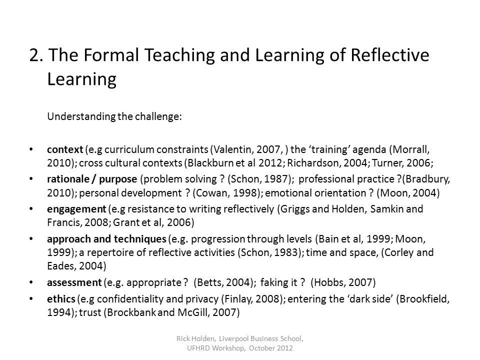 Hobbs, V., (2007) Faking it or hating it: can reflective practice be forced?, Reflective Practice, 8(3) Holden, R.