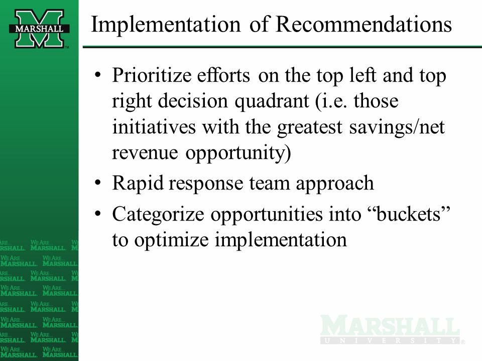 Implementation of Recommendations Prioritize efforts on the top left and top right decision quadrant (i.e.