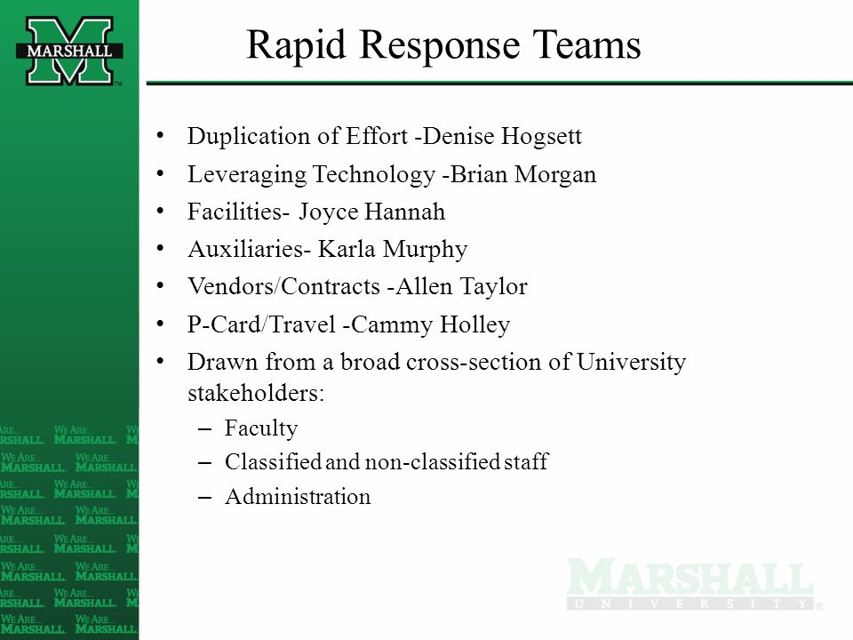 Rapid Response Teams Duplication of Effort -Denise Hogsett Leveraging Technology -Brian Morgan Facilities- Joyce Hannah Auxiliaries- Karla Murphy Vendors/Contracts -Allen Taylor P-Card/Travel -Cammy Holley Drawn from a broad cross-section of University stakeholders: – Faculty – Classified and non-classified staff – Administration