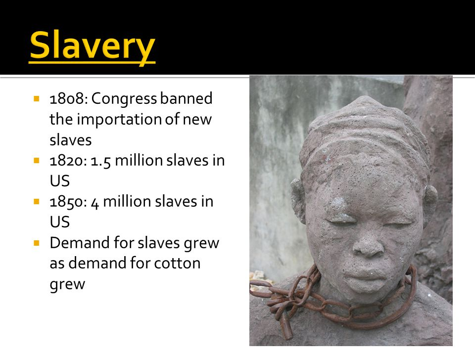  1808: Congress banned the importation of new slaves  1820: 1.5 million slaves in US  1850: 4 million slaves in US  Demand for slaves grew as dema