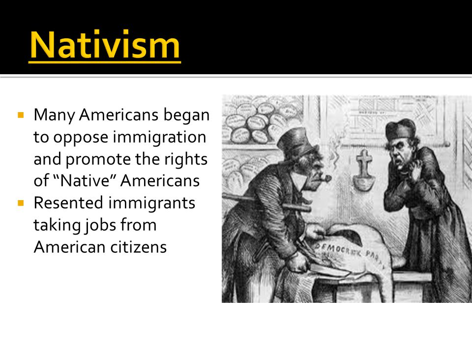  Many Americans began to oppose immigration and promote the rights of Native Americans  Resented immigrants taking jobs from American citizens