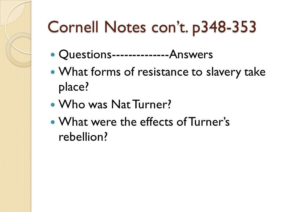 Cornell Notes con't.