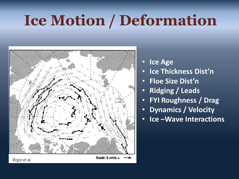 Ice Motion / Deformation Rigor et al Ice Age Ice Thickness Dist'n Floe Size Dist'n Ridging / Leads FYI Roughness / Drag Dynamics / Velocity Ice –Wave Interactions