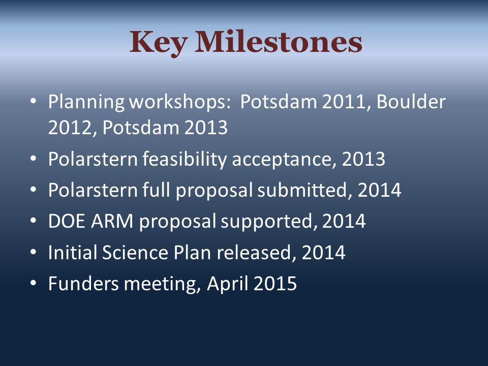 Planning workshops: Potsdam 2011, Boulder 2012, Potsdam 2013 Polarstern feasibility acceptance, 2013 Polarstern full proposal submitted, 2014 DOE ARM proposal supported, 2014 Initial Science Plan released, 2014 Funders meeting, April 2015 Key Milestones