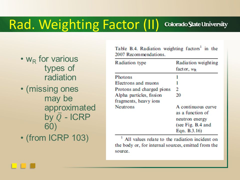 Rad. Weighting Factor (II)