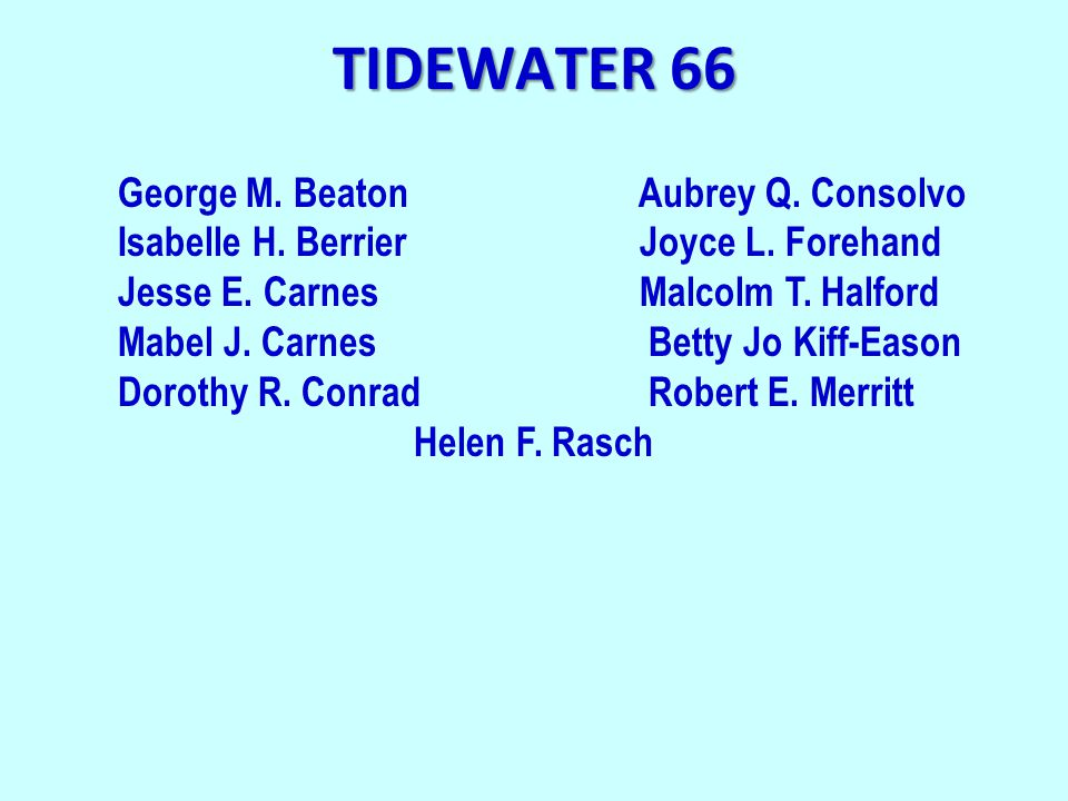 TIDEWATER 66 George M. Beaton Aubrey Q. Consolvo Isabelle H. Berrier Joyce L. Forehand Jesse E. Carnes Malcolm T. Halford Mabel J. Carnes Betty Jo Kif