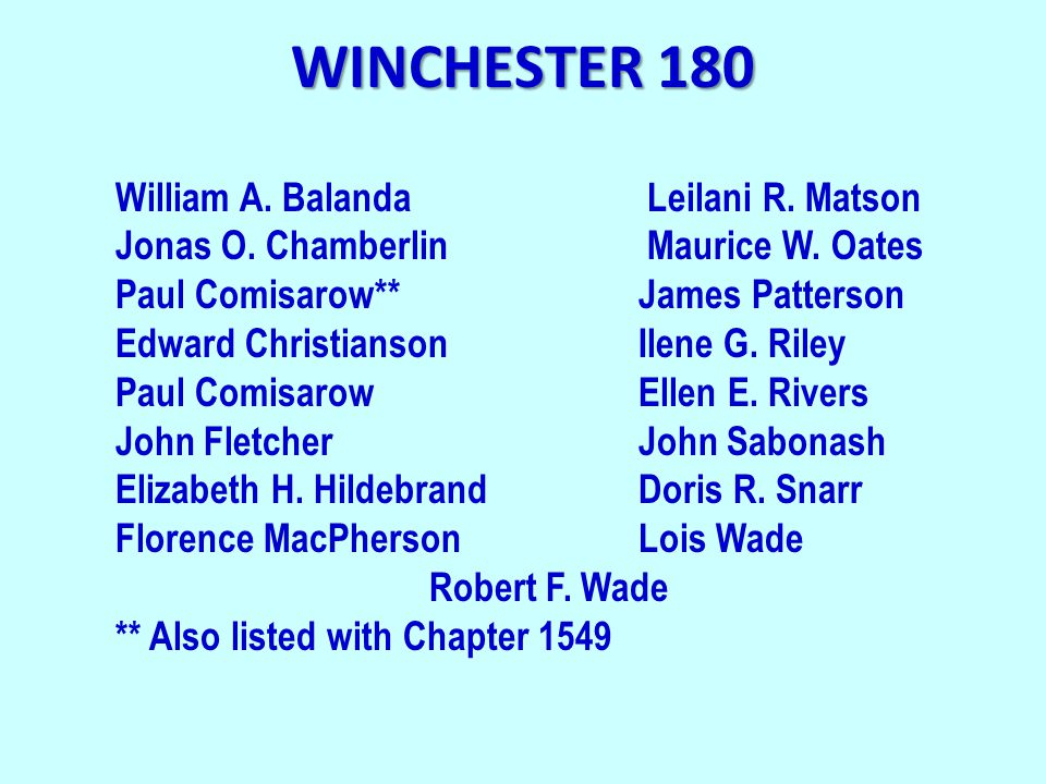 WINCHESTER 180 William A. Balanda Leilani R. Matson Jonas O.