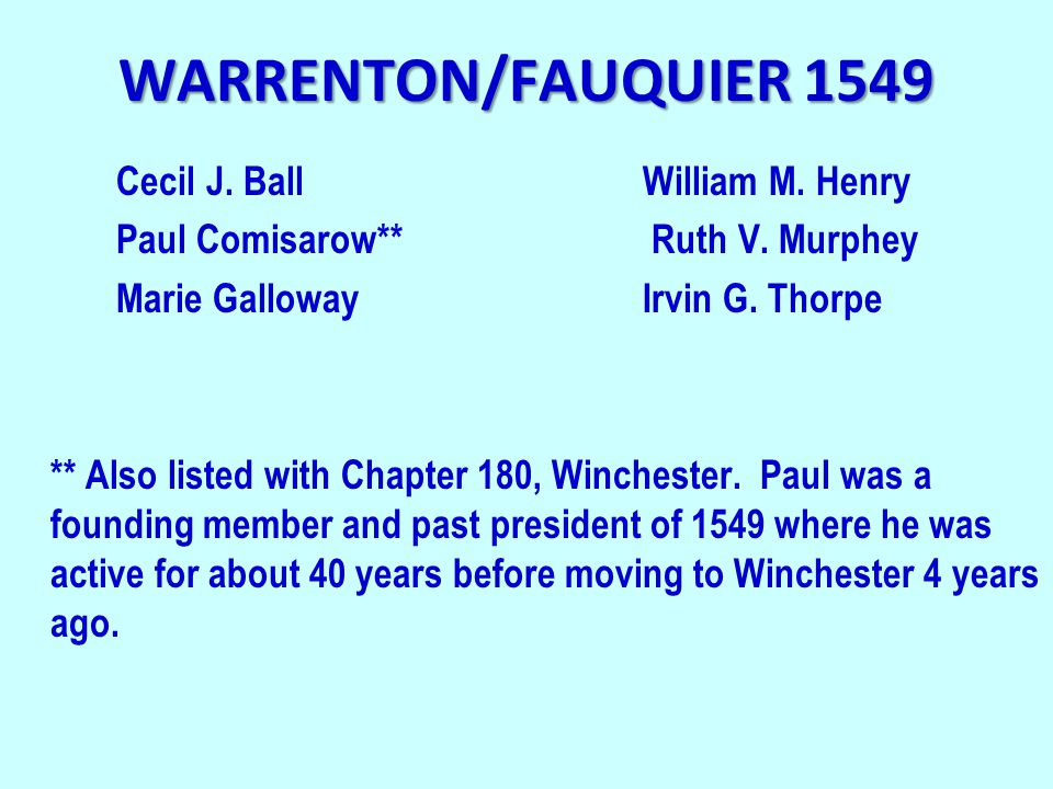 WARRENTON/FAUQUIER 1549 Cecil J. BallWilliam M. Henry Paul Comisarow** Ruth V. Murphey Marie GallowayIrvin G. Thorpe ** Also listed with Chapter 180,