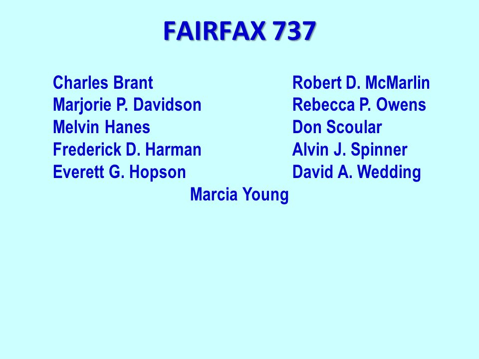 FAIRFAX 737 Charles BrantRobert D. McMarlin Marjorie P.