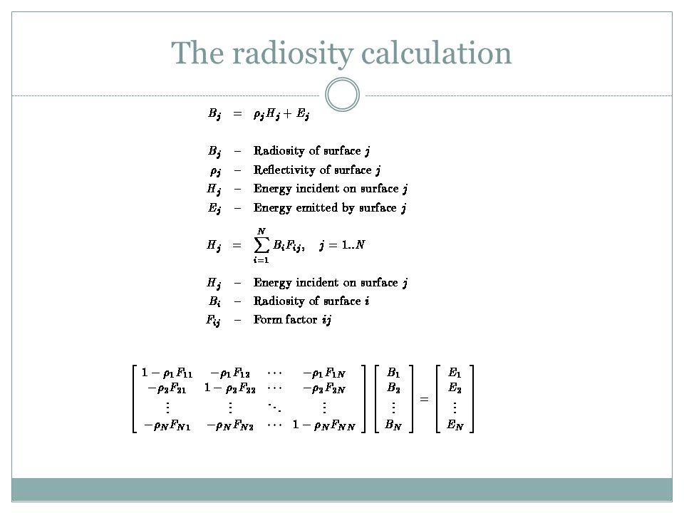 The radiosity calculation
