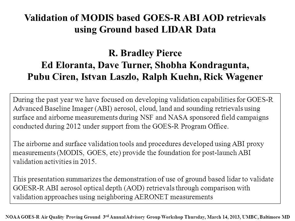 Validation of MODIS based GOES-R ABI AOD retrievals using Ground based LIDAR Data R.
