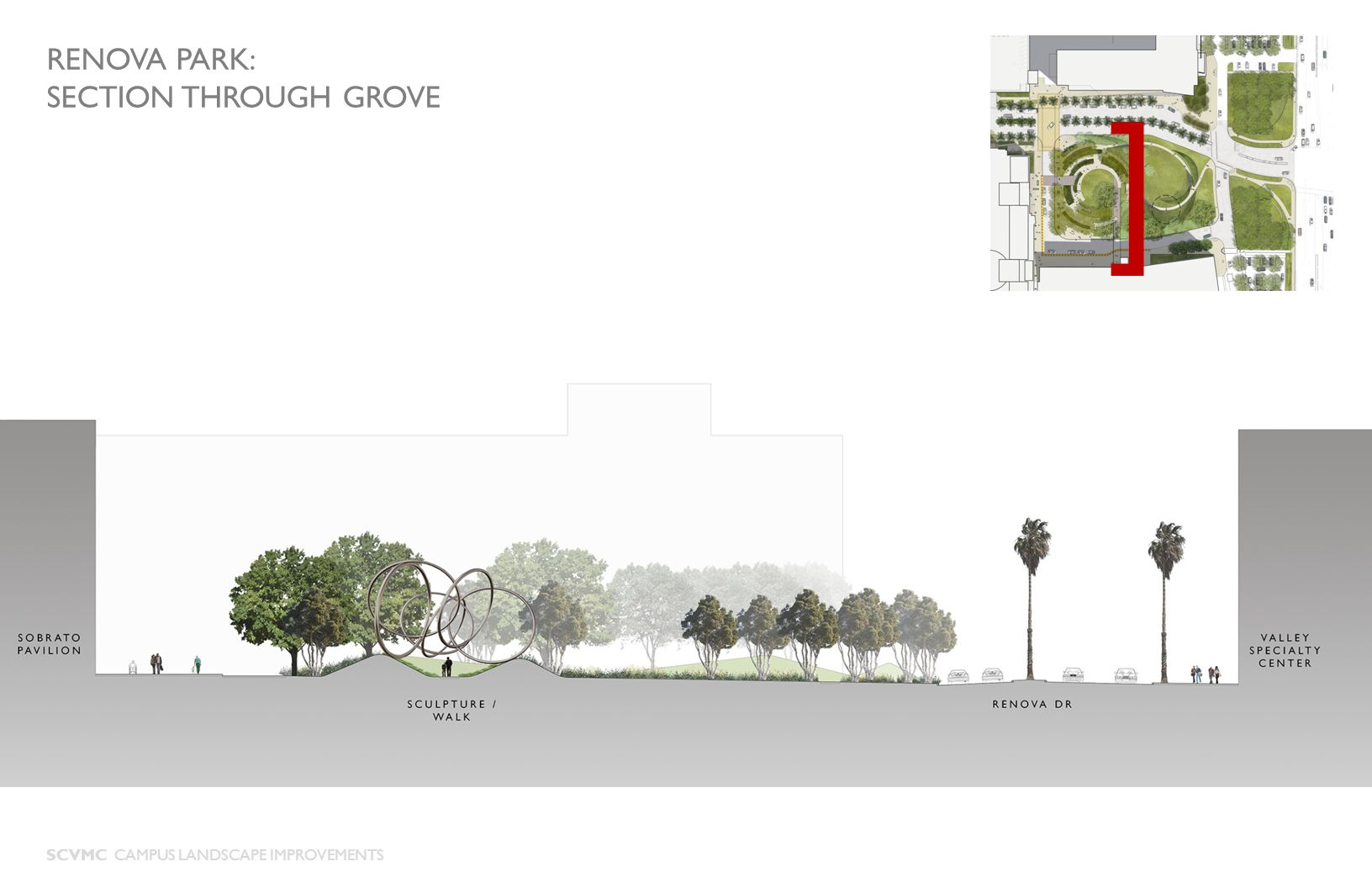 ] RENOVA PARK: SECTION THROUGH GROVE SCVMC CAMPUS LANDSCAPE IMPROVEMENTS