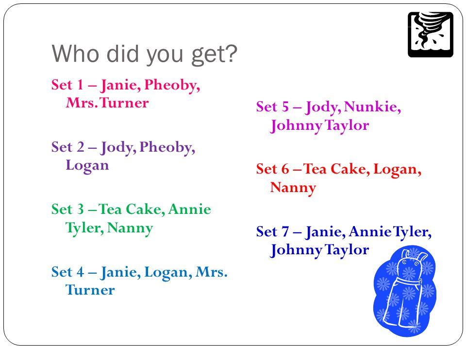 Who did you get? Set 1 – Janie, Pheoby, Mrs. Turner Set 2 – Jody, Pheoby, Logan Set 3 – Tea Cake, Annie Tyler, Nanny Set 4 – Janie, Logan, Mrs. Turner
