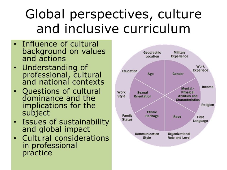 Global perspectives, culture and inclusive curriculum Influence of cultural background on values and actions Understanding of professional, cultural and national contexts Questions of cultural dominance and the implications for the subject Issues of sustainability and global impact Cultural considerations in professional practice