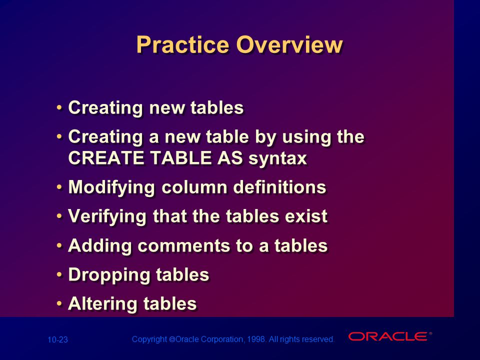10-23 Copyright  Oracle Corporation, 1998. All rights reserved. Practice Overview Creating new tables Creating a new table by using the CREATE TABLE